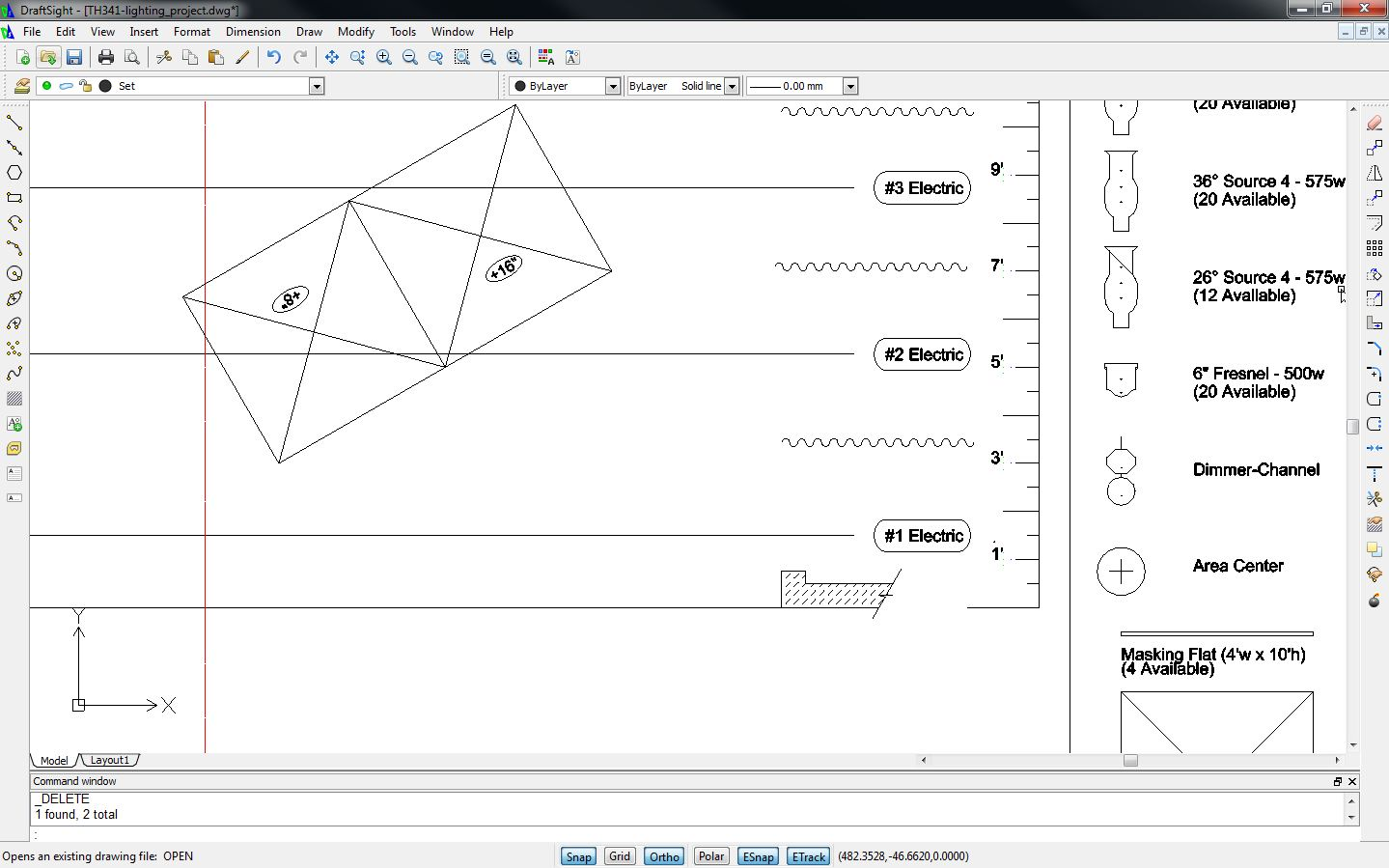 Drawing Angled Lines In Draftsight : Stage lighting for students